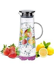 1,5 Litros Agua Jarra,BOQO Botella de cristal y tapa acero inoxidable,