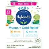 Infant and Baby Cold Medicine, Hyland's Baby Mucus + Cold Relief, Day & Night Value Pack, Decongestant and Cough Relief, 8 Fl