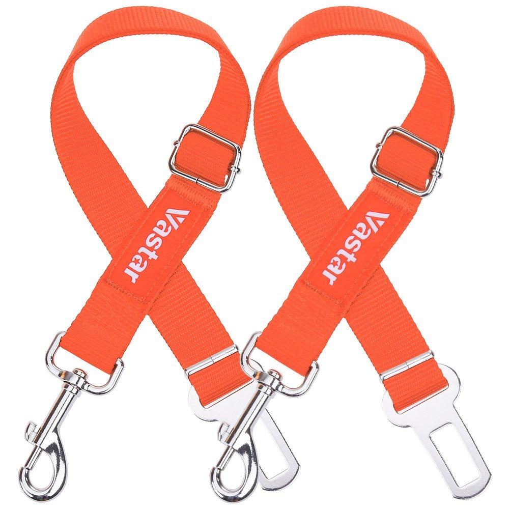 Fluorescence orange Vastar 2 Packs Adjustable Pet Dog Cat Car Seat Belt Safety Leads Vehicle Seatbelt Harness, Fluorescence orange