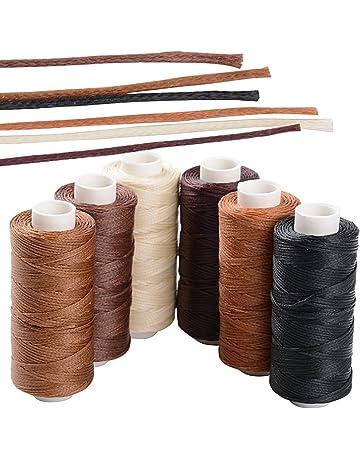 BETESSIN 6 Rollos Cordón Encerado 150D/1mm 50m Cuerda Encerada Multiolores Hilo de Cuero para