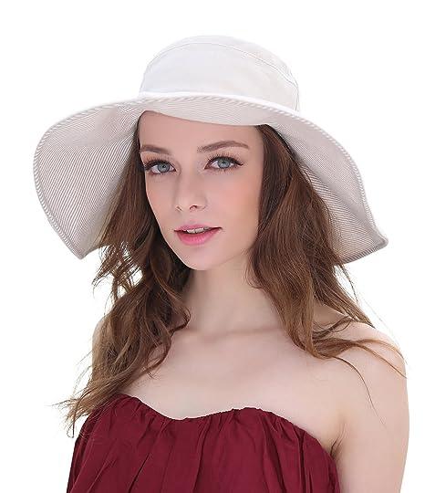 6cfb3a85f Home Prefer Women's Wide Brim Sun Bucket Hat UPF50 Beach Sun Hat Shapable