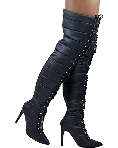 485d01d93b8 CAPE ROBBIN Gigi-23 Black Lace Up Thigh High Heel Pointed Over Knee Puffer  Nylon
