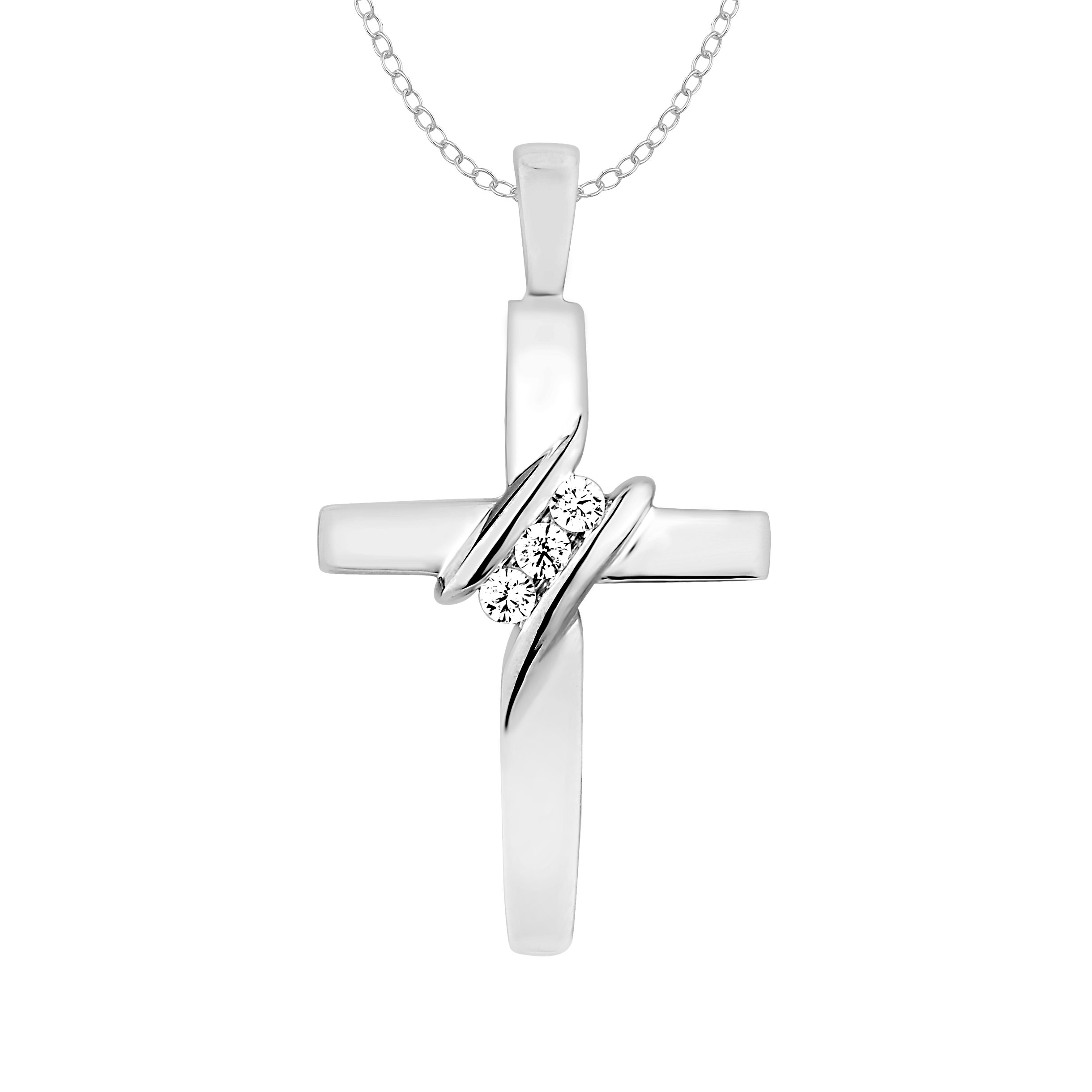 10k Diamond Three-Stone Cross Pendant Necklace Religious Jewelry (0.05cttw, I-J / I2-I3)18'' by EternalDia