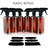 Plastic Spray Bottles with Heavy Duty Mist & Stream Sprayers and Chalkboard Labels (6-pack); PET #1 BPA-free, Use for Aromatherapy, DIY Cleaning, Kitchen, Hair Etc
