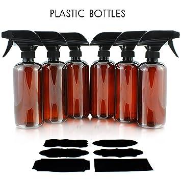 16oz Amber PLASTIC Spray Bottles w/Heavy Duty Mist & Stream Sprayers &  Chalkboard Labels