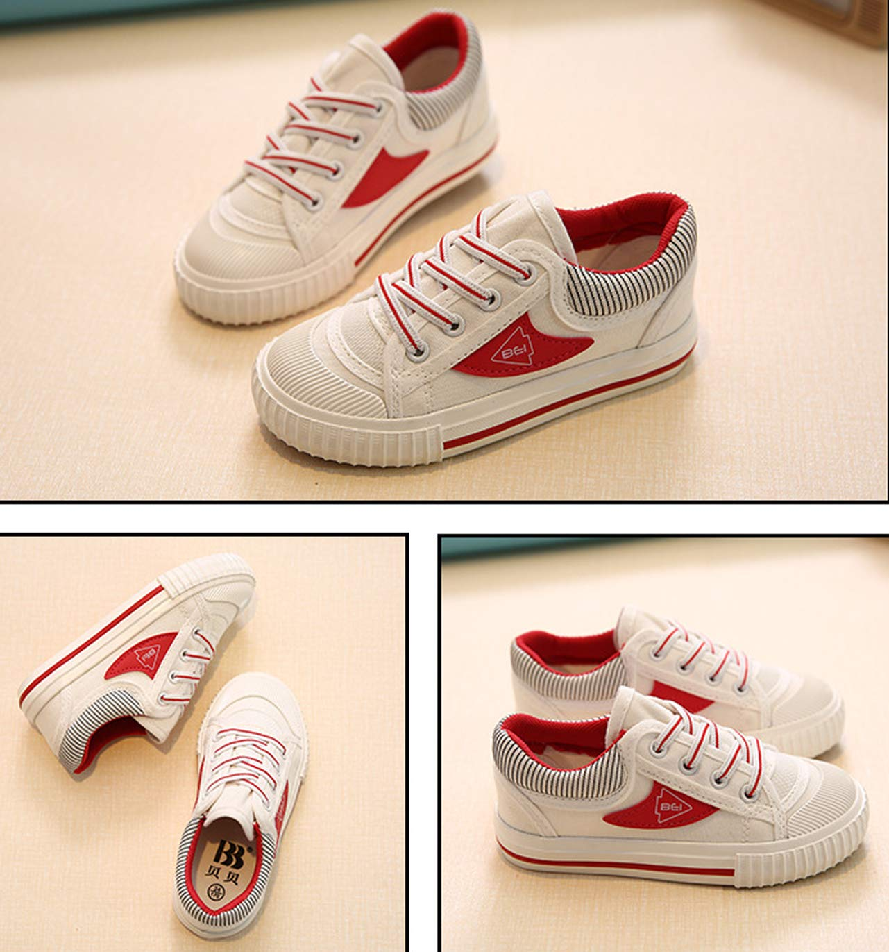 iDuoDuo Boys Girls Fashion Stripes Lace up Anti Slip School Tennis Shoes Red 9.5 M US Toddler by iDuoDuo (Image #4)