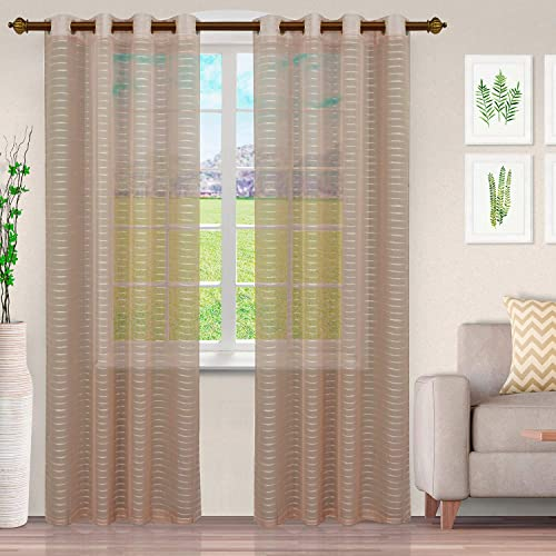 SUPERIOR Portici Lightweight Sheer 2 Panel Curtain Set with Stainless Grommet Topper