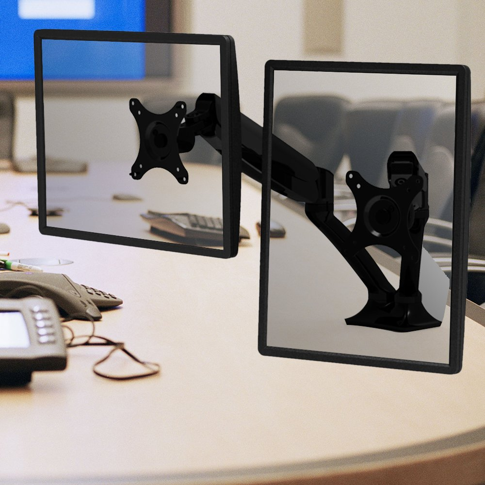 Loctek D5D Dual Monitor Arm Desk Monitor Mounts Fits 10''-27'' Monitors, Gas Spring LCD Arm
