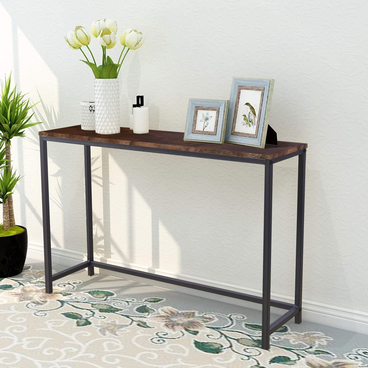 Console Sofa Tables End Table Computer Desk Coffee Snack Console Tables for Living Room Or Corridor Hallway Brown Color Wood