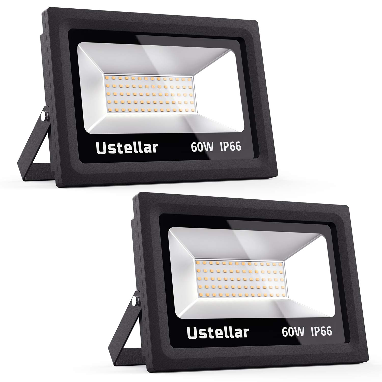 Ustellar 2 Pack 60W LED Flood Light IP66 Waterproof 4500lm 300W Halogen Bulb Equivalent Outdoor Super Bright Security Lights 2700K Warm White Floodlight Landscape Wall Lights