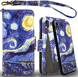Mefon iPhone XR Detachable Leather Wallet Case, with Tempered Glass and Wrist Strap, Enhanced Magnetic Closure, Card Slot, Kickstand, Luxury Flip Folio Cases for Apple iPhone XR 6.1 (Starry Night)