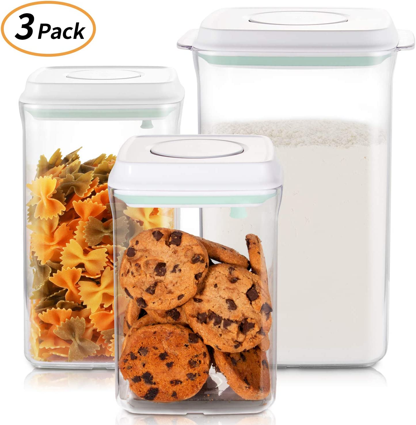 Food Storage Containers Set, SKY LIGHT Airtight Seal Canisters with POP - UP Lids for Kitchen Pantry Organization and Storage - Clear Plastic Jar BPA Free for Cereal, Snacks, Flour, Sugar