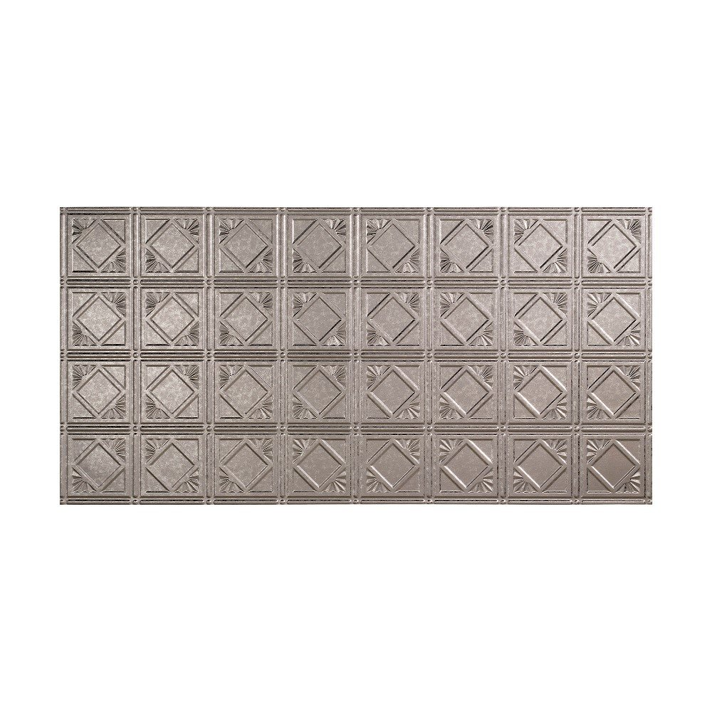 Fasade - 2ft x 4ft Traditional Style/Pattern #4 Galvanized Steel Glue Up Ceiling Tile/Ceiling Panel - Fast and Easy Installation (1 Tile)