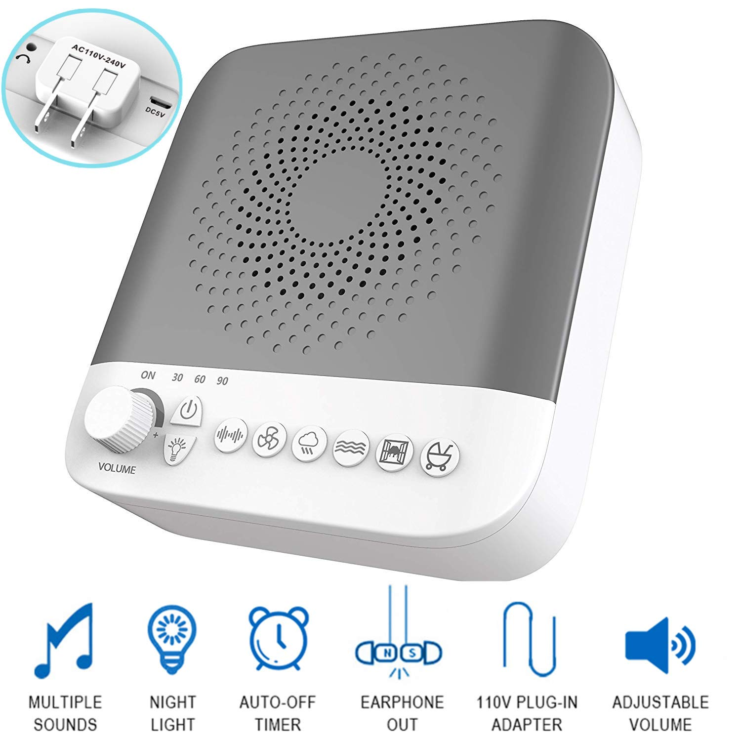 A3-02 Plug-in Night Light White Noise Sound Machine with 17 Non-Looping Soothing Natural Sounds, Relax Timer Setting/Portable Sleep Therapy Machine for Adults, Baby, Kids & Toddlers/Home & Travel