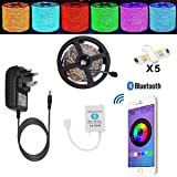 Led Lights Strip TENLION Led Strip Bluetooth Fairy Light Smartphone App Controlled Work with Android and IOS System,5m 5050 150LEDs RGB Led Light with 12V 3A Power Supply (built-in IC and fuse)