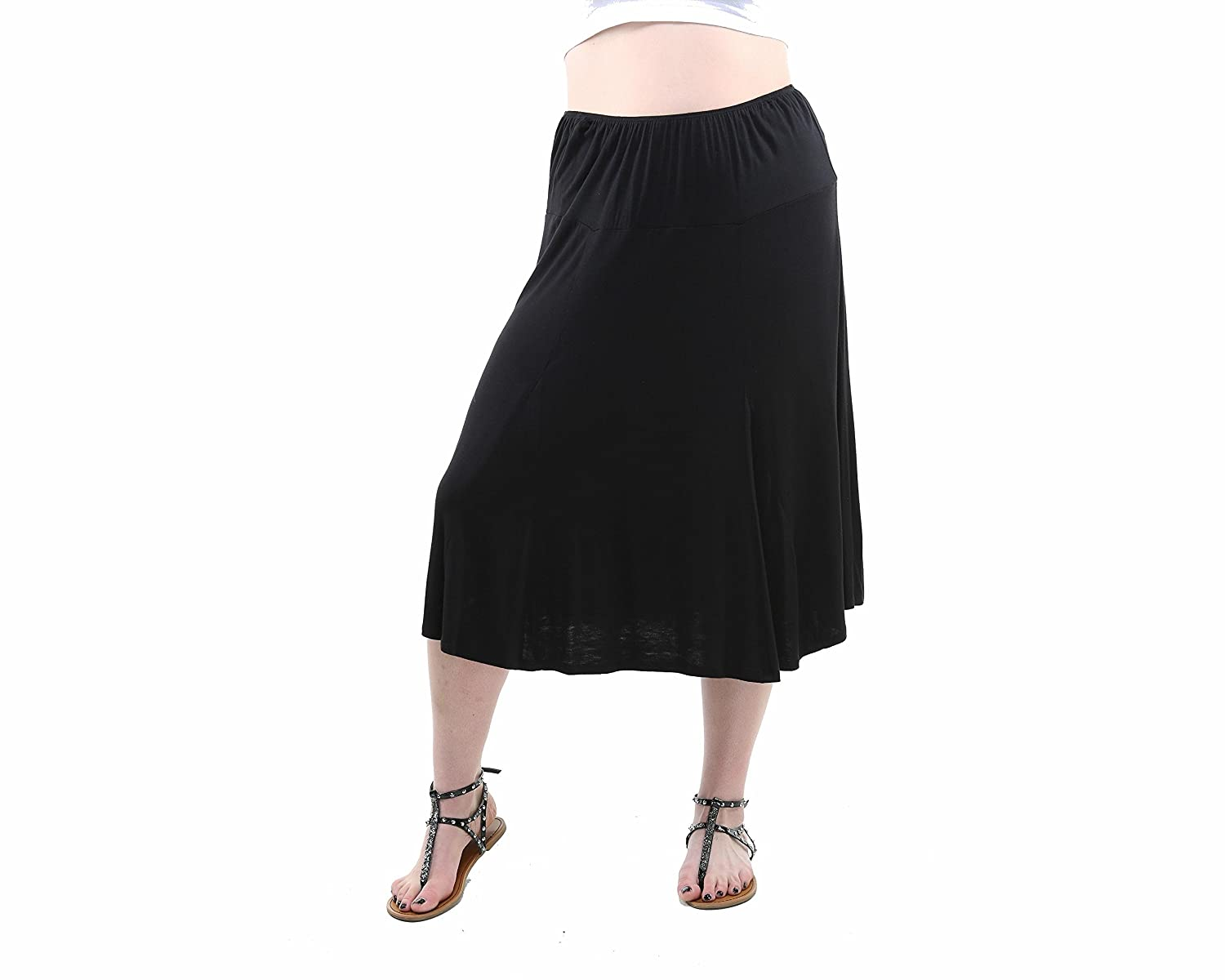 24/7 Comfort Apparel Plus Size Women's Calf-Length Skirt CF520P