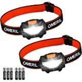 OMERIL LED Head Torch, [2 Pack] Super Bright 150 Lumens Headlamp with 3 Modes, Lightweight COB Head Torches for Kids, Running, Walking, Camping, Fishing, Car Repair, DIY & More- 6*Batteries Included
