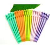 Pack of 40 Multicolour Childrens Plastic 7cm Needles. For Sewing, Binca and Tapestry