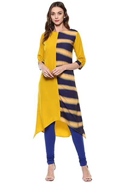 Janasya Women's Yellow Printed Crepe A-Line Kurti Kurtas at amazon