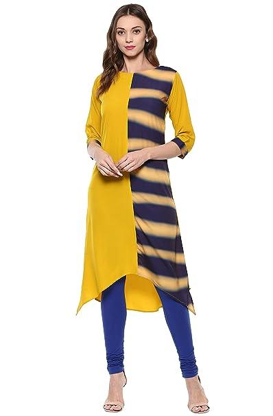 Janasya Women's Yellow Printed Crepe A-Line Kurti Kurtas at amazon