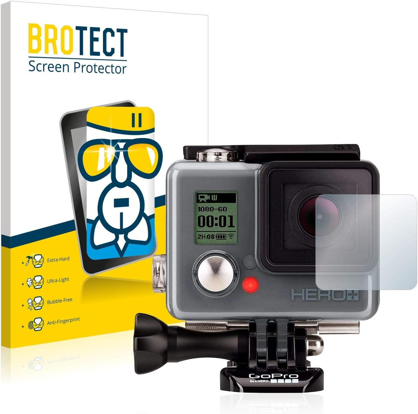 AirGlass brotect Glass Screen Protector compatible with GoPro Hero+ Lens 9H Glass Protector housing