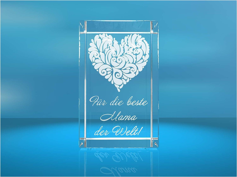 Gravur VIP-LASER 3D Glas Kristall Verziertes Herz Für die beste Oma der Welt