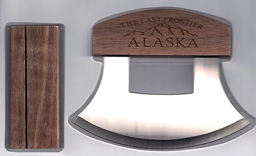 Alaskan Ulu Etched Mountain Vista Wood Handle Knife Display Stand