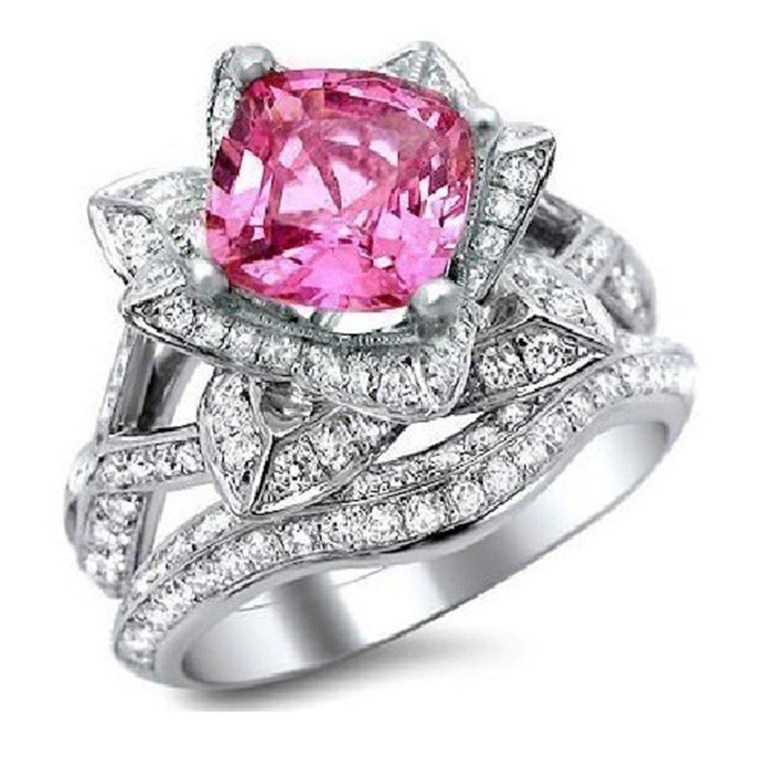 Smjewels 2.75Ct Cushion Cut Sapphire Lotus Flower CZ Diamond Ring Bridal Set 14K White Gold Fn