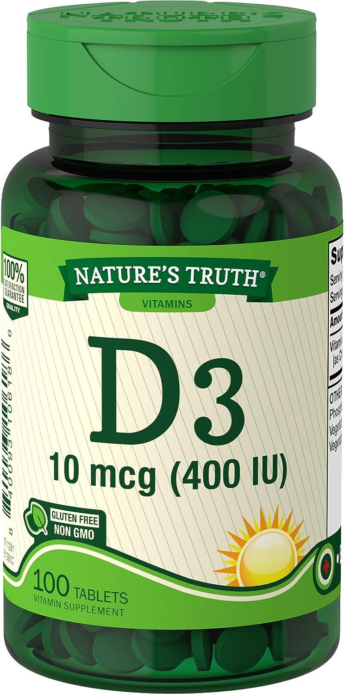 Nature's Truth Vitamin D3, 400 IU, 100 Count