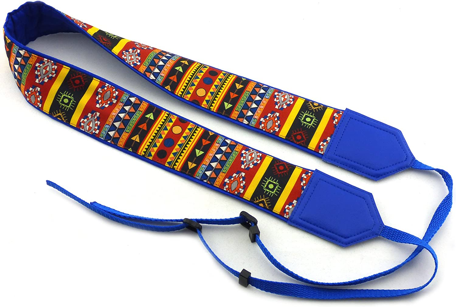 Code 00278 Blue Tribal Camera Strap Durable Colorful Indian Camera Strap Aztec Camera Strap Light Weight and Well Padded Camera Strap DSLR Camera Strap