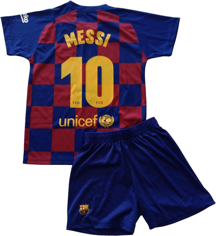 FCB Conjunto Camiseta y Pantalón Primera Equipación Infantil Messi del FC Barcelona Producto Oficial Licenciado Temporada 2019-2020 Color Azulgrana (Azulgrana, Talla 12)