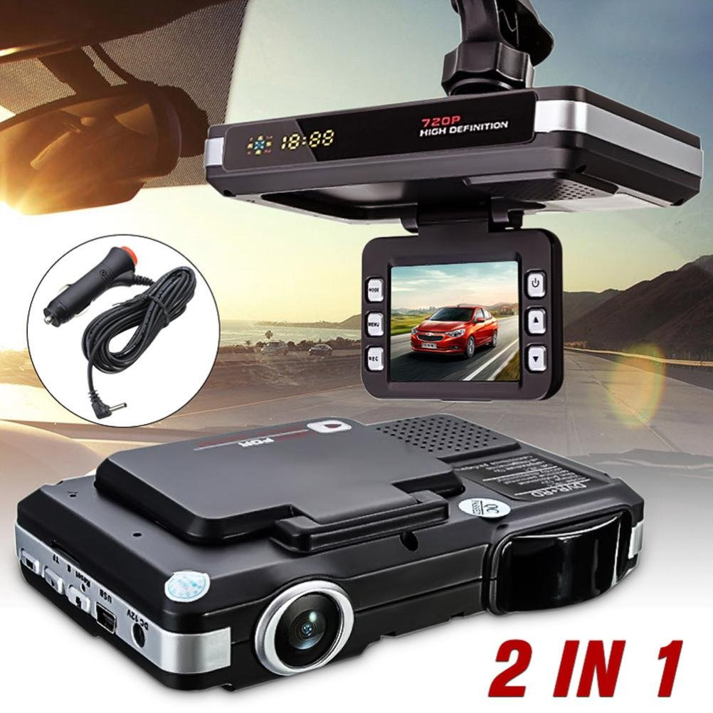 OVERMAL 2 in 1 MFP 5MP Car DVR Recorder + Radar Speed Detector Trafic Alert English