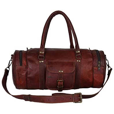 6987909ac CPLEATHER Vintage Design Leather Travel Duffle Bag for Men and Women, 18 x  5 x