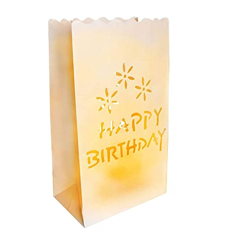 Pack de 50 Linternas de Papel Happy Birthday Papel Blanco por Kurtzy - Decoraciones Centro de Mesa - Resistente al Fuego - Linternas Grandes - Usar ...
