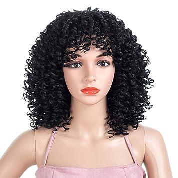 ZJYUAN Afro Pelucas para Mujeres Negras Pelucas Sintéticas De Pelo Rizado Pelucas Peludas Afroamericanas Rizadas Rizadas