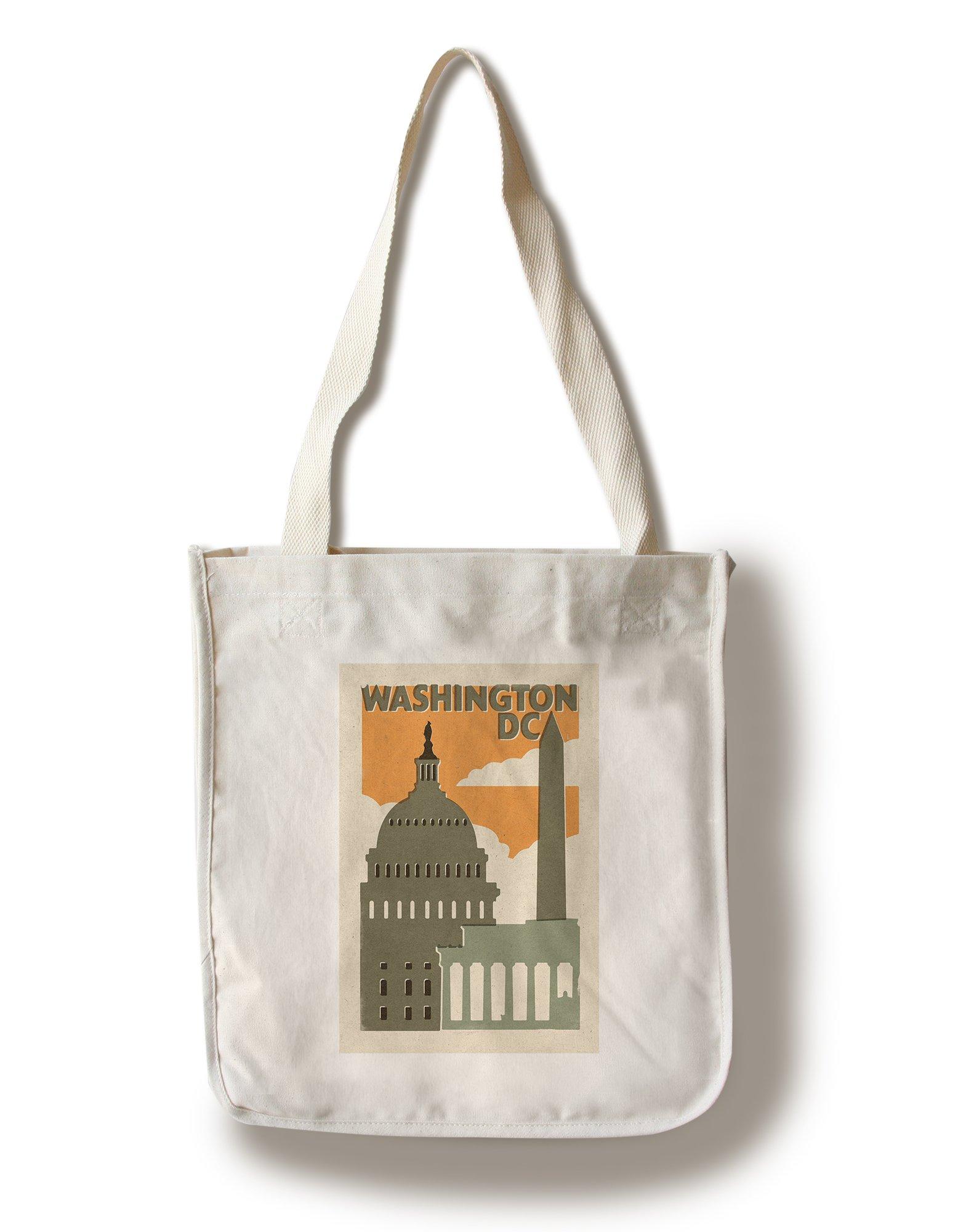 Lantern Press Washington, DC - Woodblock (100% Cotton Tote Bag - Reusable)