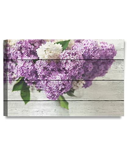 Decorarts Canvas Prints Wall Art Fresh Lilac Flowers On Vintage Wooden Background Giclee Print On Canvas For Wall Decor 30x20x1 5