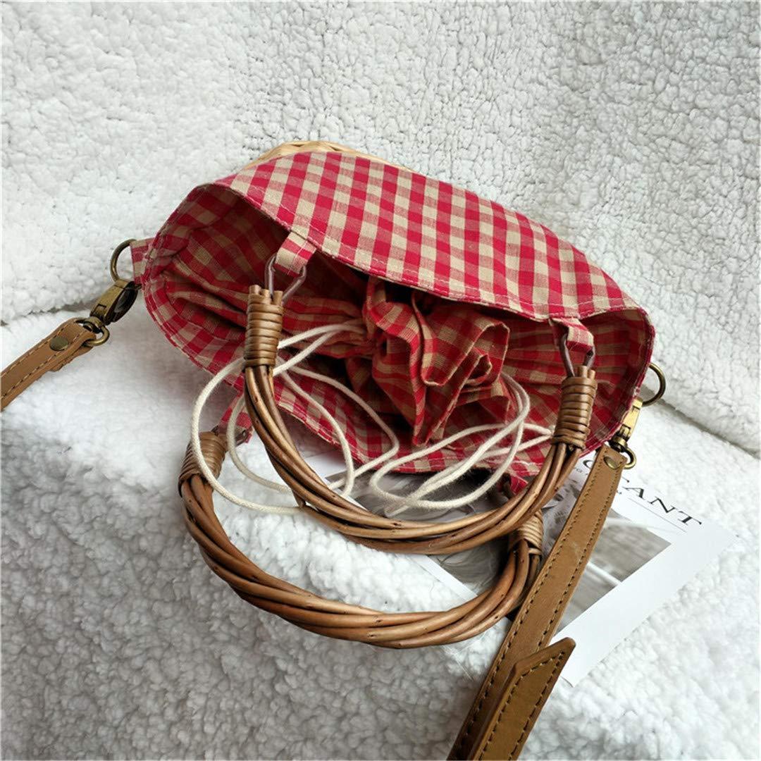 Steraber Stroh-strickende Feiertags-Handtasche Stroh-Rattan-rote Plaid-Leinwand Picture Big Big Big L 24cm B07Q5CYS5B Schultertaschen Stabile Qualität 025b48