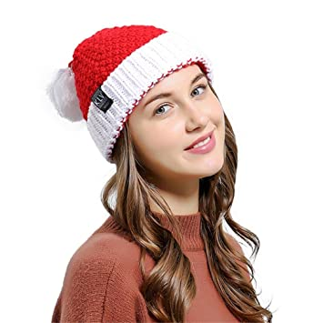 b6388794fcb Men Women Baggy Warm Crochet Winter Wool Knit Ski Christmas Caps Xmas Hat  beanie (red