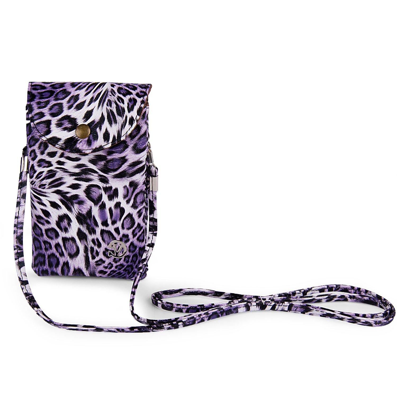 VG Smartphone Purple Leopard Bag Pouch w//Strap for LG G3 LG G Vista Smartphone