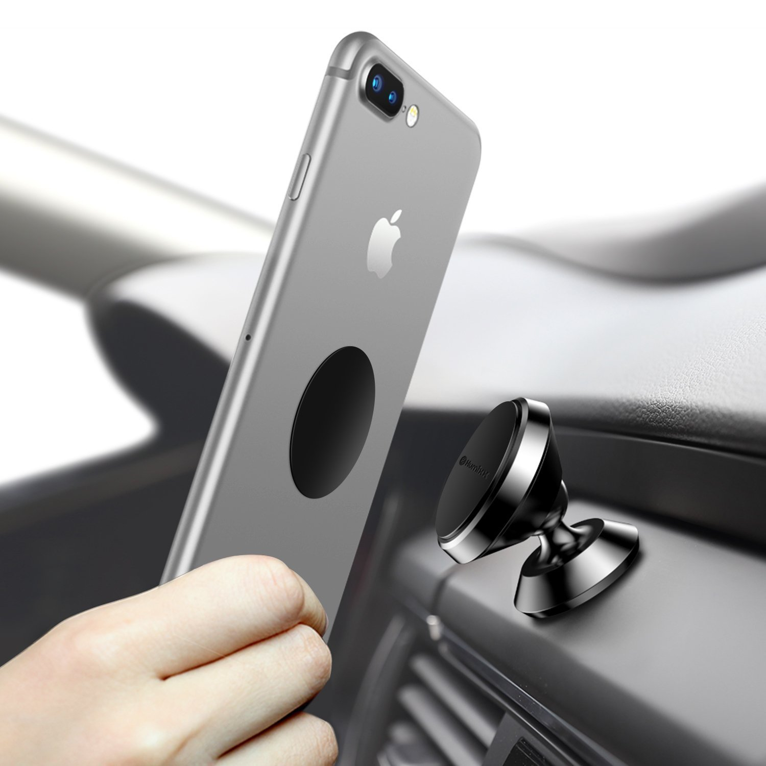 Magnetic Phone Holder for Car, Humixx 360° Adjustable Dashboard Cellphone Car Mount Holder for iPhone 8 8 Plus 7 7 Plus,Samsung S7 S8, HTC, LG, ZTE [Easy Series] -Black