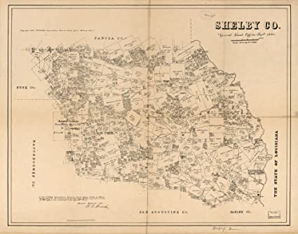 Map Of Texas 1880.Amazon Com Vintage 1880 Map Of Shelby Co Shows Land Ownership