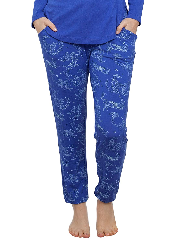 Cyberjammies 3884 Women's Elisa Blue Reindeer Print Pajama Pyjama Pant