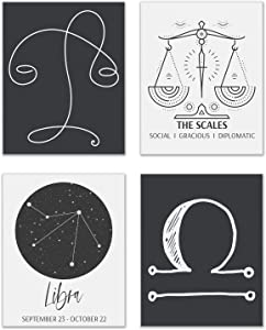 Libra Astrological Sign Prints - Set of 4 (8x10 Inches) Zodiac Constellation Horoscope Star Sign Four Elements Wall Art Decor - The Scales - Air - Cardinal - Venus