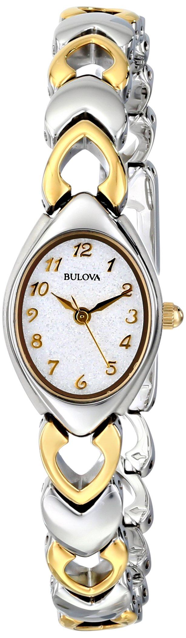 Bulova Women's 98V02 White Patterned Bracelet Watch by Bulova