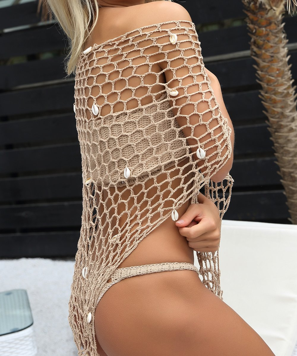 BeadChica Women Crochet Beach Cover up Fishnet Sarong Wrap With Shells Pailletes by BeadChica (Image #5)