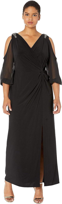 Alex Evenings Plus Size Womens Cold Shoulder Popover Dress