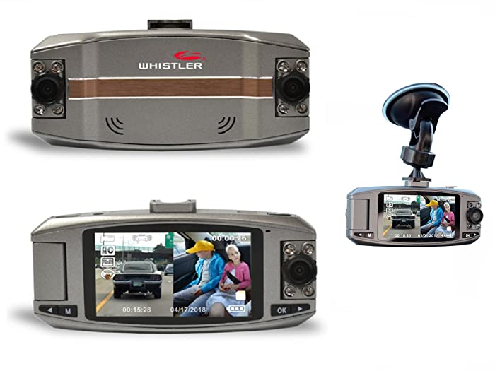 WHISTLER AUTOMOTIVE DIGITAL VIDEO RECORDER D2200 Dual Lens Dash Camera + 16GB SD C10