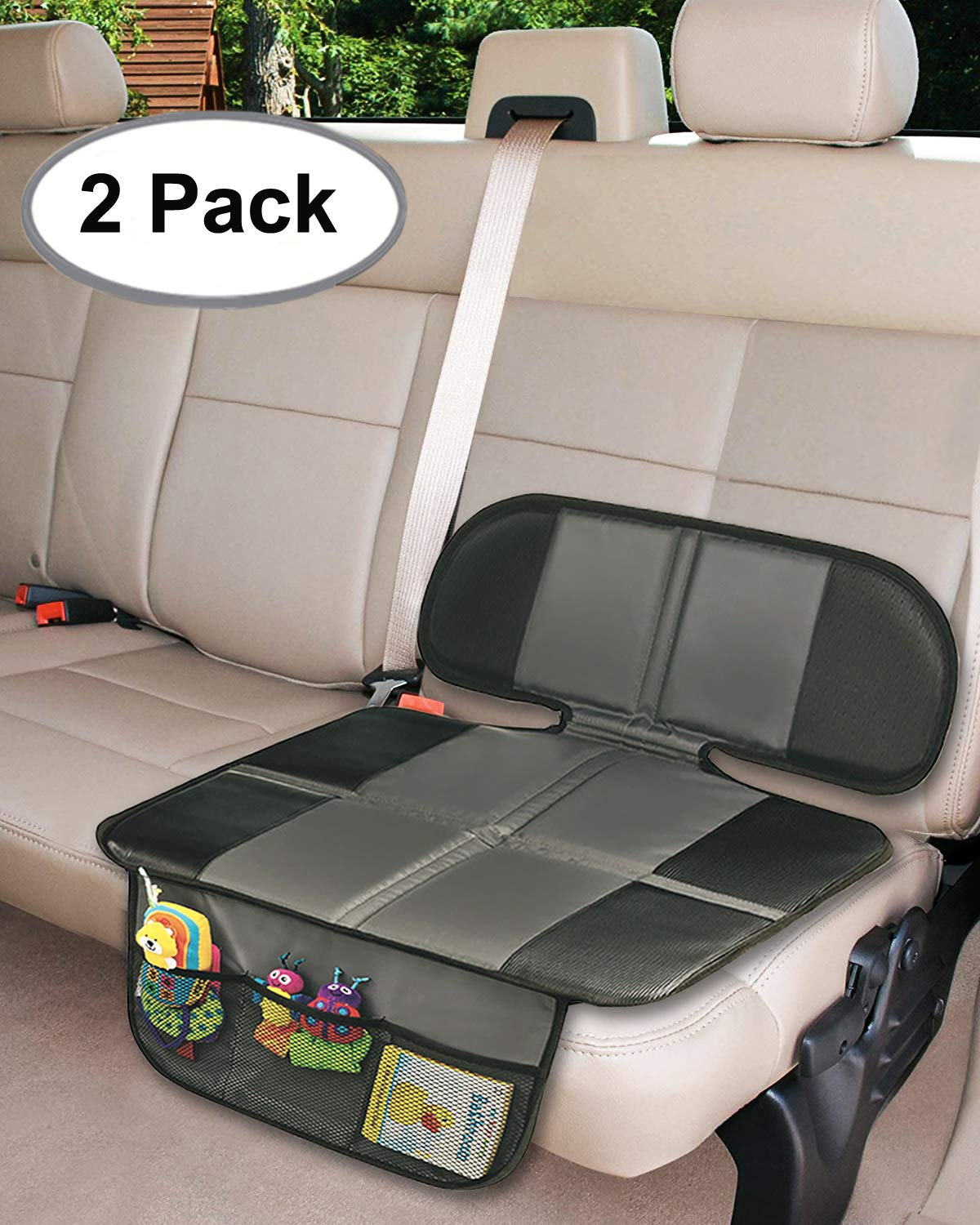 Car Seat Protector, Thick Padding Protection for Child & Baby Cars Seats, Dog Mat, Non Slip and Waterproof Protects Automotive Vehicle Upholstery with Extra Storage Pocket(Black) Big Ant