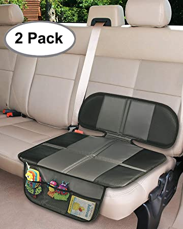 Car Seat Protector 2PC Covers Extra Storage Pocket Thickest Padding Protection For Child